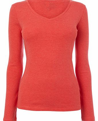 Womens Red Long Sleeve V Neck Top, red 2423003874