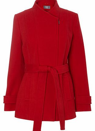 Womens Red Short Belted Asymmetric Coat, red