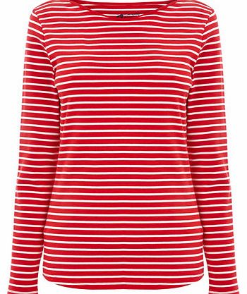 Womens Red/white Long Sleeve Stripe Slash Neck