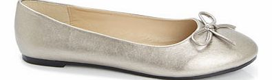 Womens Silver Fashion Wide Fit Ballet Pump,
