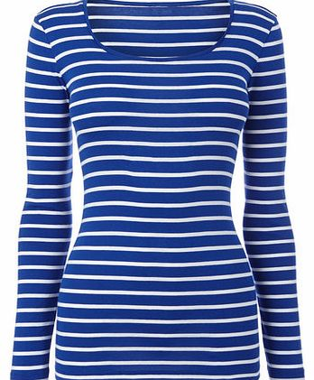 Womens Steel blue Long Sleeve Stripe Scoop Neck