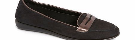 Womens TLC Black Contrast Tab Loafer, black