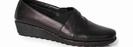 Womens TLC Black Leather Asymetric Scratch Wedge