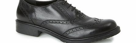 Womens TLC Black Leather Brogue Lace Up Shoe,