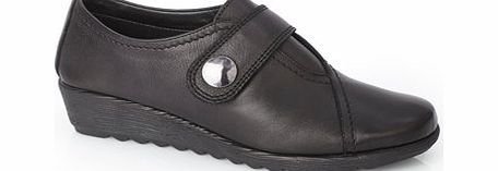 Womens TLC Black Leather Button Casual Shoe,