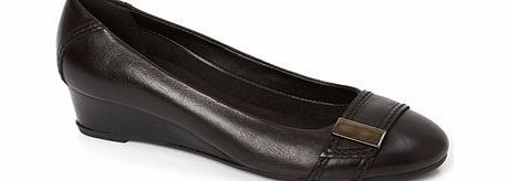 Womens TLC Black Leather Demi Wedge Shoe, black