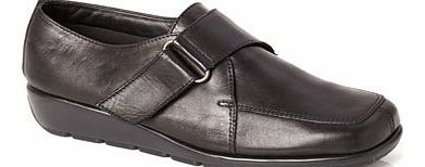 Womens TLC Black Leather Heavy Velcro Shoes,