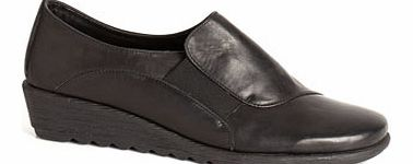 Womens TLC Black Leather Scratched Wedge Elastic