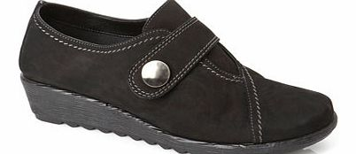 Womens TLC Black Nubuck Button Velcro Shoes,