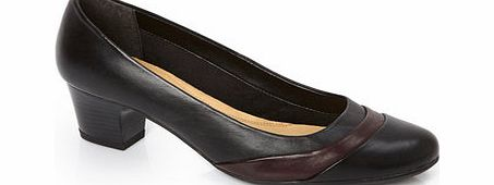 Womens TLC Black Wide Fit 2 Tone Court Shoe,