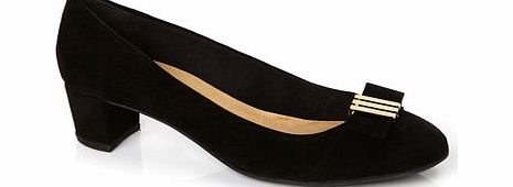 Womens TLC Black Wide Fit Block Heel Court Shoe,