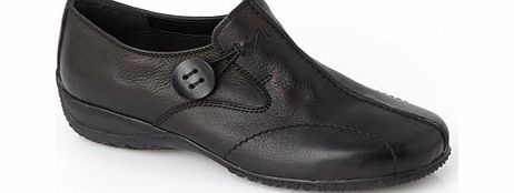 Womens TLC Black Wide Fit Button Velcro Sporty
