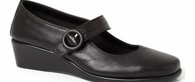 Womens TLC Black Wide Fit Pleat Bar Wedge Shoes,