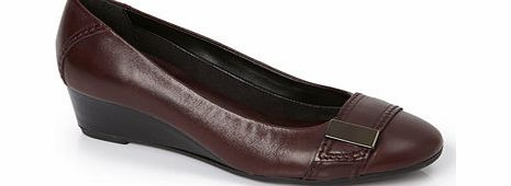 Womens TLC Burgundy Leather Demi Wedge Shoe,
