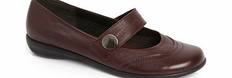 Womens TLC Burgundy Wide Fit Metal Button Sporty