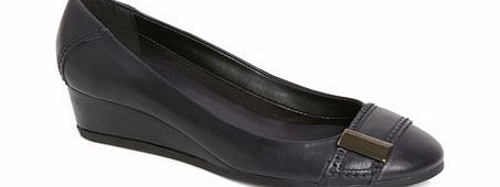 Womens TLC Navy Leather Demi Wedge Shoe, navy