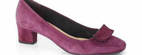 Womens TLC Purple Leather Block Heel Court