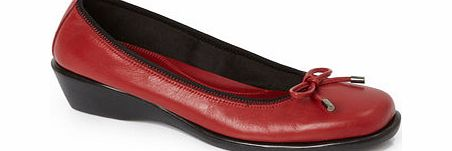 Womens TLC Red Leather Bow Flexi Pump Shoe, red