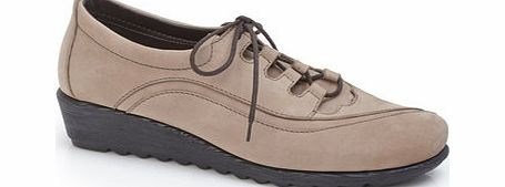 Womens TLC Taupe Scratch Wedge Lace Up Shoe,