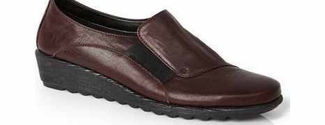 Womens TLC Wine Leather Scratch Wedge Elastic