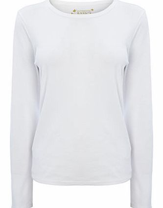Womens White Long Sleeve Crew Neck Top, white
