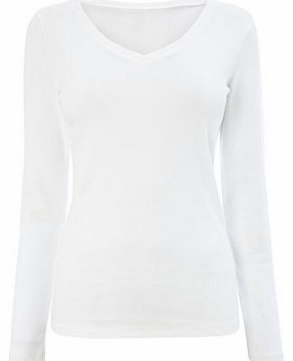 Womens White Long Sleeve V Neck Top, white