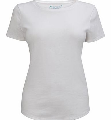 Womens White Short Sleeve Crew Neck Top, white