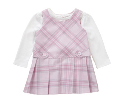 Woven check pinny dress set
