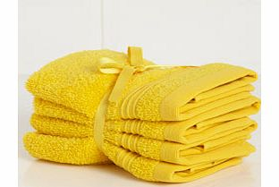 Yellow Supersoft pack of 4 face cloths, yellow
