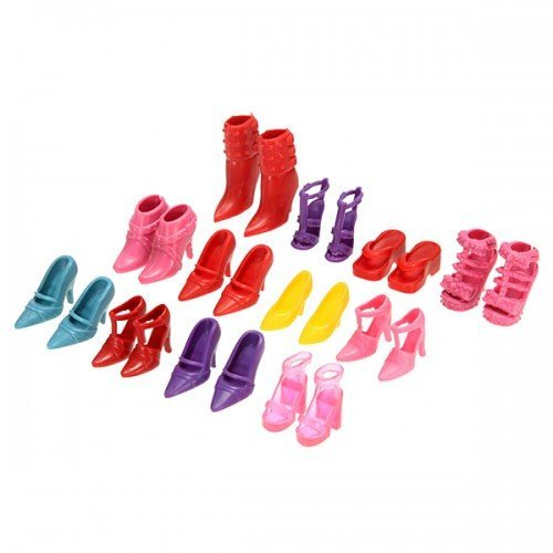 Lovely 12 Pair High Heel Flattie Shoes Boot For Barbie Doll Outfits