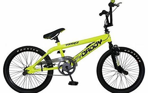 Rooster Big Daddy Kids Bmx Bike 20`` Wheels 11`` Frame Gyro Stunt Pegs Yellow RS23