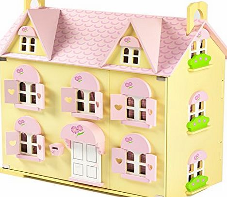 Big Game Hunters Butterbee Cottage Wooden Dolls House for Children with Curtains, 2 Staircases, Window Shutters and Flower Boxes