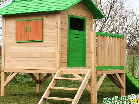 Chestnut Tower Wooden Playhouse, Painted Garden Play House with Slide and Stairs