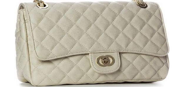Womens Medium Quilted Gold Chain Shoulder Bag (6020 Light Beige)