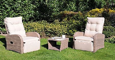 Big Living Pacific 3 Piece Dining Set Rattan Garden Furniture Set Table Outdoor Patio Conservatory 18-091
