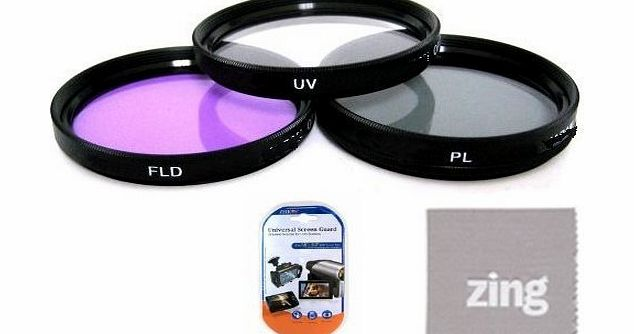 Big Mikes  30Mm Multi-Coated 3 Piece Filter Kit (Uv-Cpl-Fld) For Sony Dcr-Sr68 80Gb Hard Disk Drive Handycam Camcorder   Microfiber Cleaning Cloth   Lcd Screen Protectors