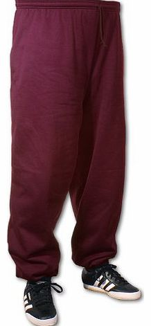 Big Mens Burgundy BTS 33 Inch IL Joggers (Elasticated Ankle) 2xl to 8xl, Size : 4XL
