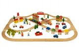 Complete Wooden Train Railway System - 101 Piece Town and Country Train Set (Compatible with leading wooden rail systems) - Wooden Toy