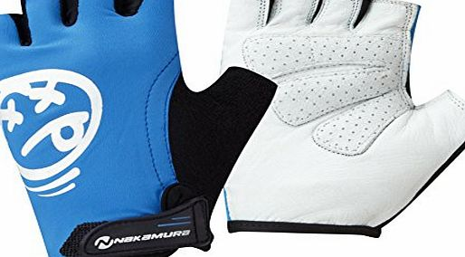 Kids Cycle Gloves Blue and White Childrens Bike Gloves with Soft Leather Palms and Graphic on Back M