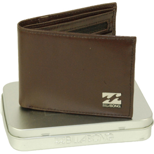 Mens Billabong Texas Leather Wallet. Chocolate