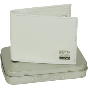 Mens Billabong Texas Leather Wallet. White