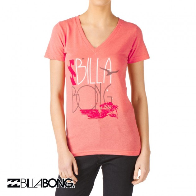 Womens Billabong Carlos T-Shirt - Peach Melba