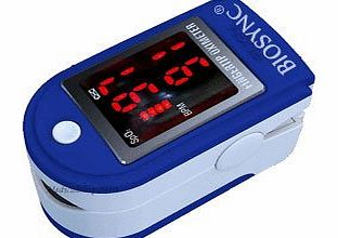 Biosync Finger Pulse Oximeter amp; Heart Rate Monitor w/ Instructions, Lanyard amp; Case - Dark Blue