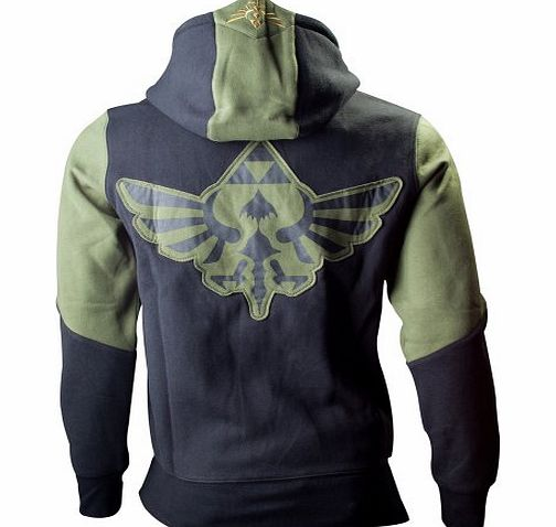 Bioworld Zelda: Triforce Logo Mens Zip-Up Hoodie Top - Size Medium (Electronic Games)