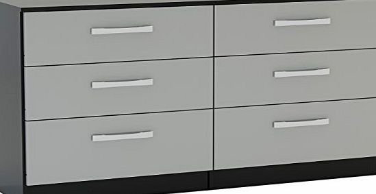 Birlea Lynx 6-Drawer High-Gloss Chest, Black amp; Grey