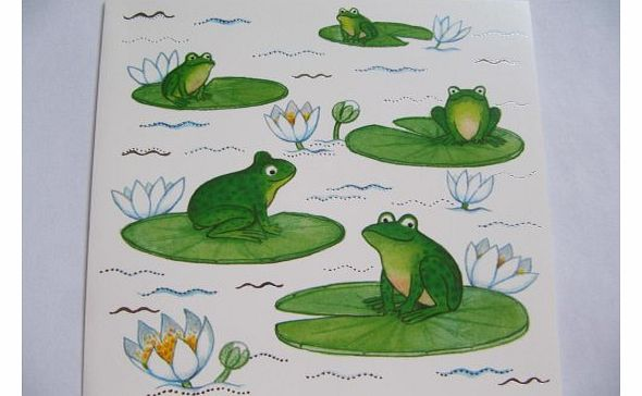 BRILLIANT 5 GREEN FROGS ON LILLY PADS COLOURFUL BLANK GREETING CARD