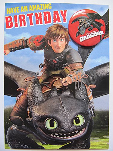 BRILLIANT HOW TO TRAIN YOUR DRAGON 2 HICCUP & TOOTHLESS BIRTHDAY GREETING CARD & BADGE