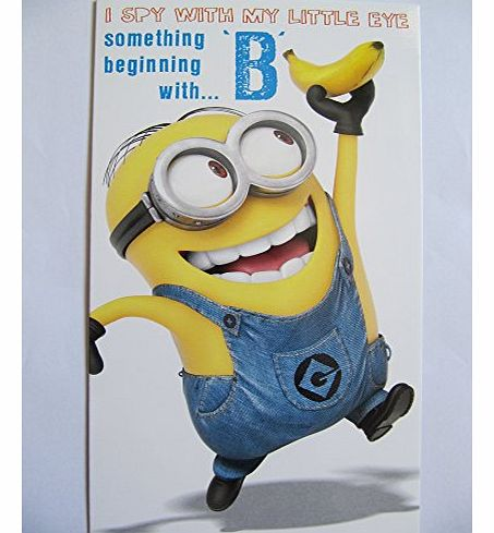 FANTASTIC DESPICABLE ME2 WITH THE MINIONS SOMETHING BEGINNING WITH B BIRTHDAY GREETING CARD