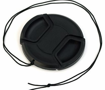 62mm Black Camera Plastic Snap On Lens Cap with Strap For Universal 62mm Camera Lenses Of All Brands - Canon, Nikon, Nikkor, Sony, Olympus, Minolta, Tamron, Sigma, Etc