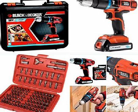 BLACK DECKER 18v CORDLESS COMBI DRILL COMPLETE WITH LITHIUM BATTERY, CHARGER,CARRYING CASE * 100 SCREWDRIVER ACCESSORIES*
